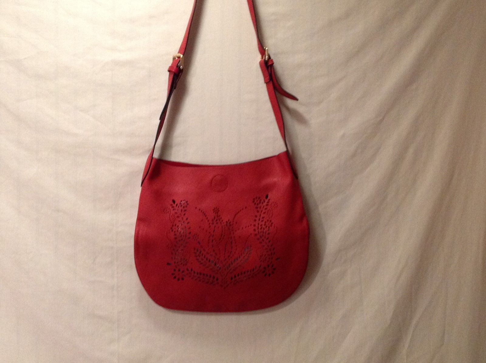 Leather Red Pocketbook/Satchel/Crossbody w/ Adjustable Leather Strap