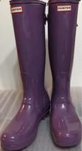 New Classic Hunter Tall Glossy Shiny Women Boots Purple Sz 5 Back Adjust - $130.89