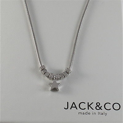 925 RHODIUM SILVER JACK&CO NECKLACE WITH SHINY STAR STARLET MADE IN ITALY