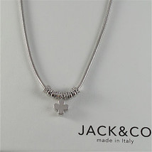925 RHODIUM SILVER JACK&CO NECKLACE WITH FOUR LEAF CLOVER PENDANT MADE I... - $84.55