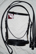 Bobby's WB Sz. Elegant Black Padded Flash Dressage Bridle w/Reins - $165.00