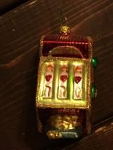 Funky Casino Slot Machine  Blown Glass Christmas Ornament  Holiday Decor... - $28.04