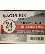 new AQULIUS SAFETY GLASSES 24 Pack  6 Colors ANSI Z87.1 Compliant free s... - $36.26