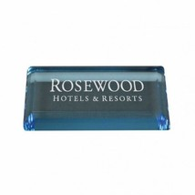 Personalized Blue Acrylic Rectangle Paperweight, Custom Office Gift Pape... - $16.15