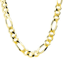 7MM 14k Yellow Gold 925 Sterling Silver Figaro Link Italian Men's Chain ... - $99.03+