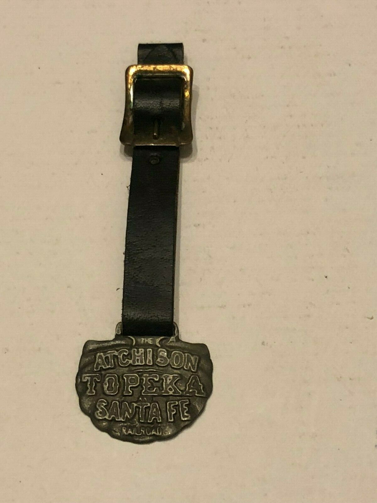 Vintage Watch Fob with Leather Strap - Atchison Topeka Santa Fee Railroad