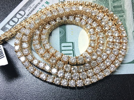 44.5 Carat Round White Enhanced Diamond Tennis Chain Necklace in 14K Yel... - $33,929.13