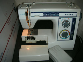 White Blue Jean Sewing Machine Model 1599 With foot Pedal TESTED  - $98.95