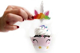 12pc Magical Rainbow Unicorn Cupcake Toppers Birthday Party Favor Decora... - $5.86