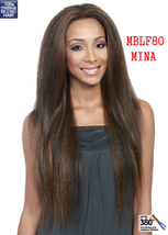MIDWAY BOBBI BOSS MBLF80 MINA NATURAL ST LONG LACE FRONT HUMAN HAIR BLEND WIG