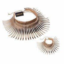 Statement Collar Choker Chuncky Bib Necklace(Set), (Bracelet Set Gold Tone) - $43.47