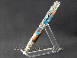 Dragon Themed Twist Pen, Honey Brown & Blue w/Pewter Fittings - $54.99