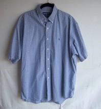RALPH LAUREN -  Men's POLO Blue/Black Checked S/S Shirt w/Logo - SIZE XL - $21.99