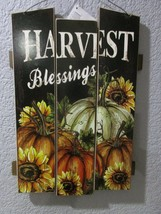 """Fall Thanksgiving HARVEST BLESSINGS Hanging Wall Door Sign Plaque Decor 15"""" - $17.99"""