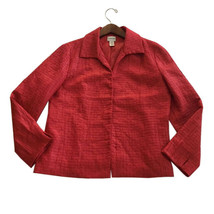 Womens Chicos Size 2 Medium Red Asian Feel Jacket Lined Hook Closure M - $14.84
