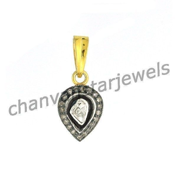 Primary image for Vintage Insp 0.45Ct Rose Cut Diamond 92.5% Sterling Silver Polky Pendant 180417