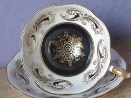 Vintage Mid Century Modern black white gold English bone china tea cup t... - €41,57 EUR