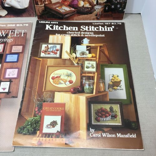 CROSS STITCH BOOKS LOT OF 4 BOOKS, COUNTRY, FRUIT, SAYINGS, VINTAGE