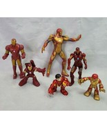 Marvel Iron Man Plastic Action Figures Lot Of 6 Various Poses Most Articulated  - $9.89
