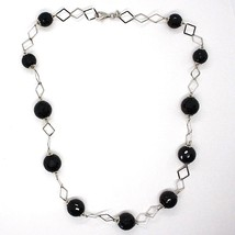 SILVER 925 NECKLACE, ONYX BLACK FACETED, LENGTH 45 CM, CHAIN RHOMBUSES image 2