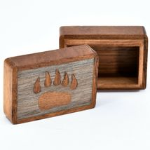 Northwoods Wooden Parquetry Country Rustic Cabin Bear Paw Mini Trinket Box image 5