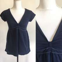 Aeropostale Navy Blue Shortsleeve Vneck Tshirt Top w Bunched Bowed Chest... - $11.29