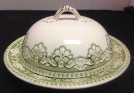 Henry Alcock & Co. EROS Semi Porcelain green Round Butter Dish England - $11.65