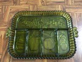 VTG Forest Green Fruit Pattern Depression Glass Handled Divided Serving ... - $14.92