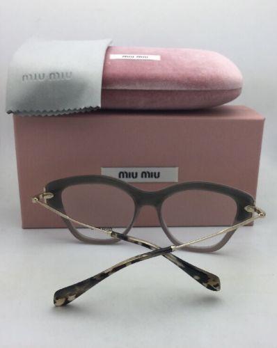 18288a4e83 MIU MIU Eyeglasses VMU 07O U6S-1O1 52-17 Gold Grey   Teal Leather