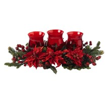 Poinsettia & Berry Triple Candleabrum by Nearly Natural - $95.33