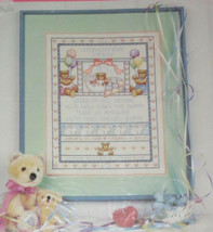 BEARS Bunny Birth Record Cross Stitch Kit Baby Announcement Vintage 1986 Sealed - $29.09