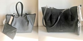 New Calvin Klein Signature Reversible Tote + Clutch Gray Logo Bag Black Suede - $108.80