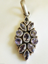 "Sterling Silver 925 Genuine Purple Amethyst Stones Pendant 2.5""L floral ... - $55.44"