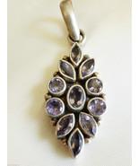 "Sterling Silver 925 Genuine Purple Amethyst Stones Pendant 2.5""L floral ... - $55.44"