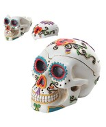 PTC Day of The Dead Themed Skull Hand Painted Resin Ashtray, White - $19.80