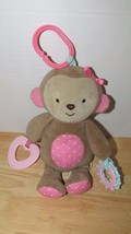 Carters Child of Mine plush tan brown pink dots monkey rattle baby teeth... - $9.89