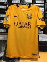 Nike Fc Barcelona Away Jersey 2015 Retro Classic Yellow And Red Size Sma... - $89.10