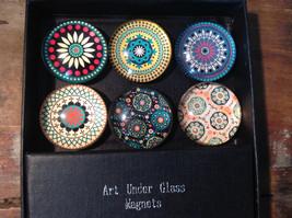 Spiro Geo Design Circular Fridge Magnets Set of 6 Art Under Glass