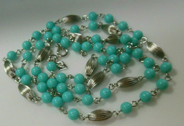 Vintage Signed Sarah Coventry Silver-tone Blue Bead Chain Necklace - $14.99