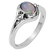 Oval Ethiopian Opal 925 Sterling Silver White Gold Rhodium Valentine's L... - $17.57
