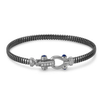 Black Rhodium Plated Sterling Silver Cuff Bracelet with Horseshoe Closure - £200.98 GBP