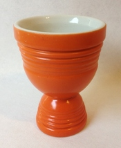 Egg Cup Orange Vintage Large Double Sided Footed Ribbed Ceramic Pottery - $19.00