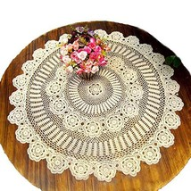 KEPSWET Cotton Handmade Crochet Lace 54 inch Round Tablecloth Beige Tabl... - $61.42