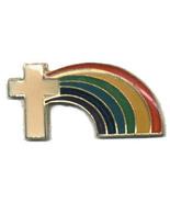 12 Pins - CROSS w/ RAINBOW , religous lapel pin #4570 - $8.00