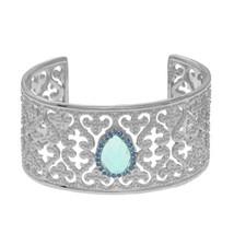 Phillip Gavriel Sterling Silver Blue Topaz and Blue Sapphire Fleur De Li... - £744.42 GBP