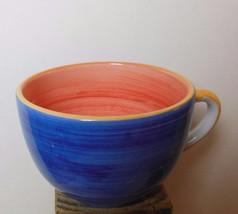 R B Bernarda Jumbo Mug Blue with Coral Inside Patchwork Quilt Pattern - $14.00