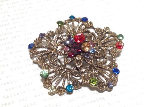 Gold Tone Multicolor Flower Brooch Pin Red Green Yellow With Swarovski Crystal