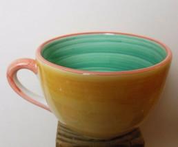 R B Bernarda Jumbo Mug Yellow with Green Inside Patchwork Quilt Pattern - $14.00