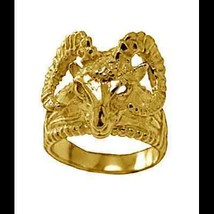LOOK New Very detailed Ram Heavy Gold plated over real Sterling Silver .925 Ring - $60.81