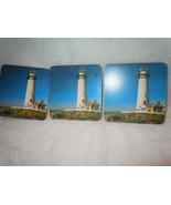 Vintage Set of 3 Light House Coasters with Cork Backs - $2.99